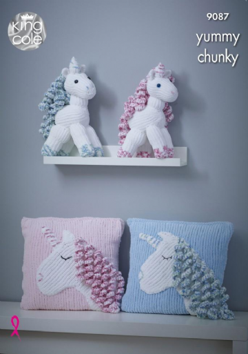 King Cole Unicorn Toy & Cushion Yummy Chunky Knitting Pattern 9087